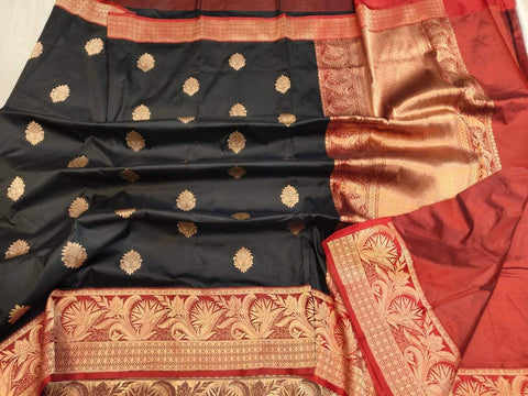 Handwoven Black and Red Banaras Katan Silk Saree