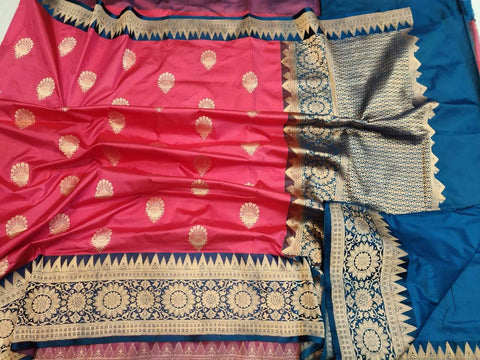 Handwoven Coral Red and Blue Banaras Katan Silk Saree