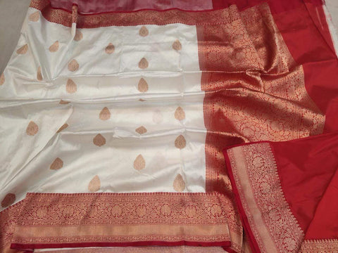 Handwoven Cream and Red Pure Banaras Katan Silk Saree