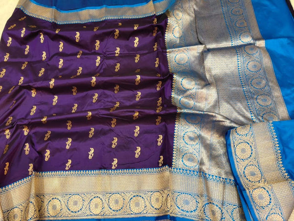 Handwoven Purple and Blue Pure Banaras Katan Silk Saree
