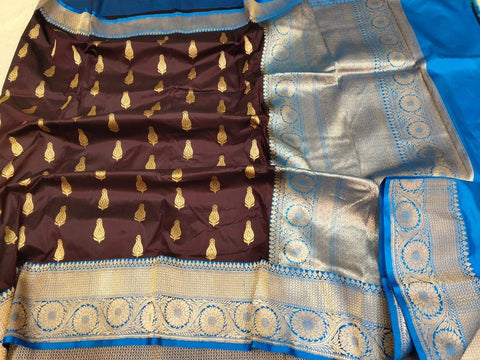 Handwoven Brown and Blue Pure Banaras Katan Silk Saree