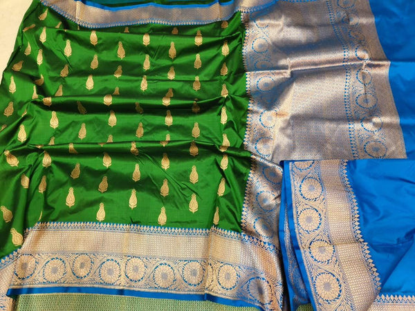 Handwoven Green and Blue Pure Banaras Katan Silk Saree
