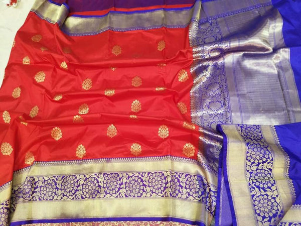 Handwoven Red and Purple Pure Banaras Katan Silk Saree