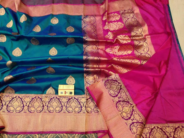 Handwoven Blue and Pink Pure Banaras Katan Silk Saree