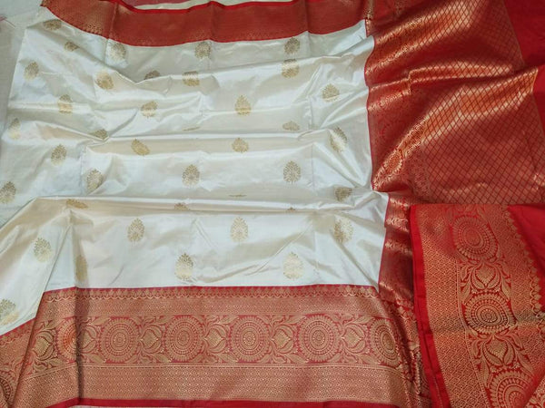 Handwoven White and Red Pure Banaras Katan Silk Saree