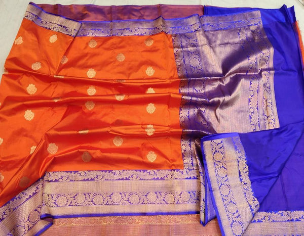 Handwoven Orange and Blue Pure Banaras Katan Silk Saree
