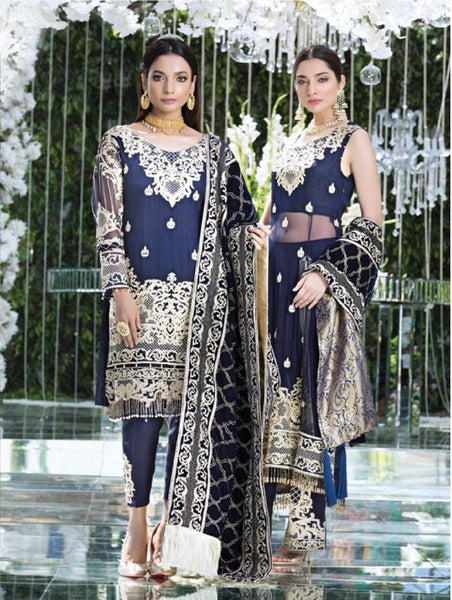 Replica - Eshaal Navy Blue Party Wear Pakistani Suit