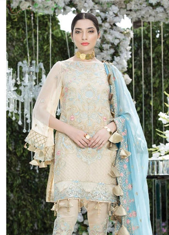 Replica - Eshaal Beige and Blue Party Wear Pakistani Suit
