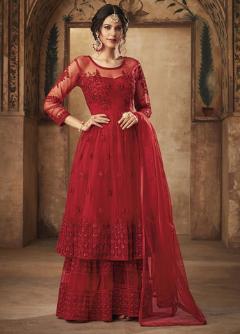 Hot Red Party Wear Sharara Style Salwar Kameez