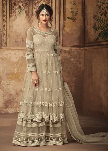 Off White Party Wear Sharara Style Salwar Kameez