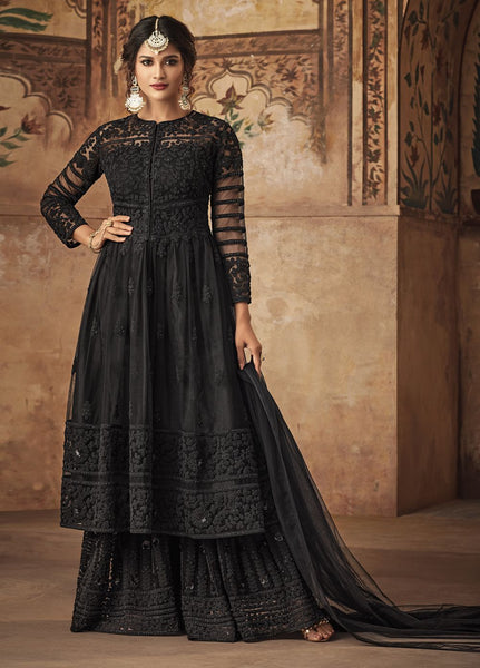 Gorgeous Black Party Wear Sharara Style Salwar Kameez