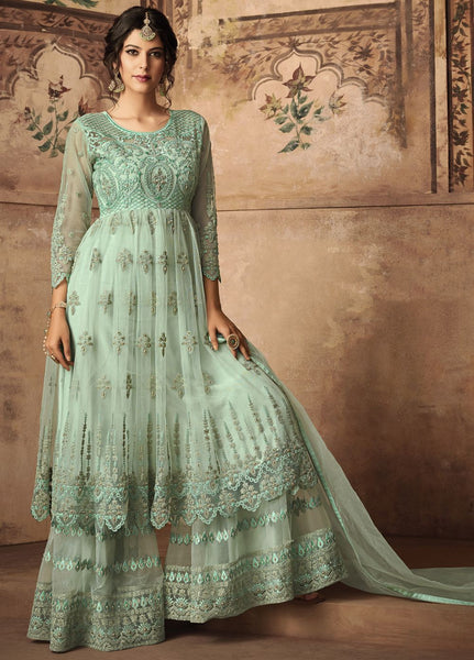 Sea Green Party Wear Sharara Style Salwar Kameez