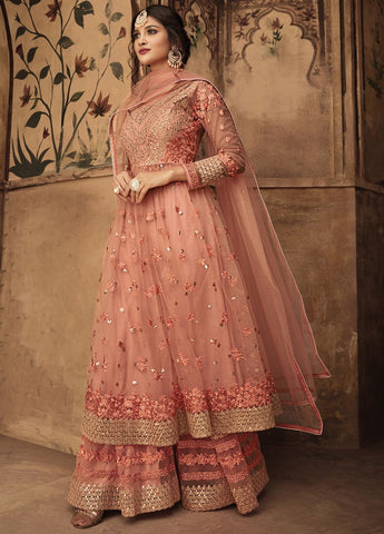 Stunning Peach Party Wear Sharara Style Salwar Kameez