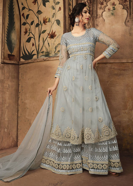 Alluring Grey Party Wear Sharara Style Salwar Kameez