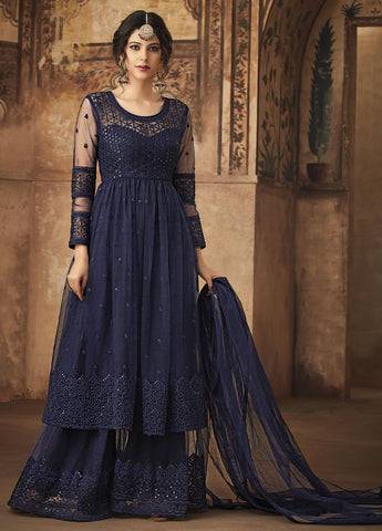 Statement Navy Blue Party Wear Sharara Style Salwar Kameez