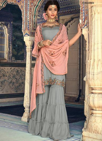 Grey and Pink Embroidered Georgette Gharara Style Salwar Kameez