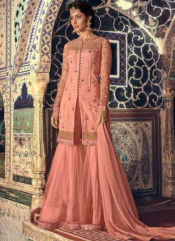 Peach Embroidered Gharara Style Salwar Kameez