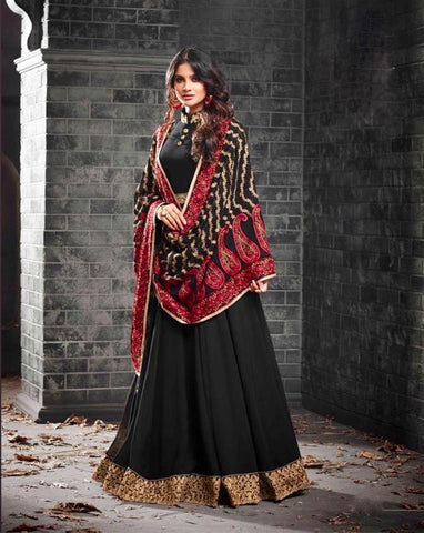 Alluring Black Gown Style Anarkali Suit