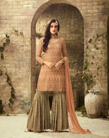 Peach and Dull Green Georgette Sharara Style Salwar Kameez
