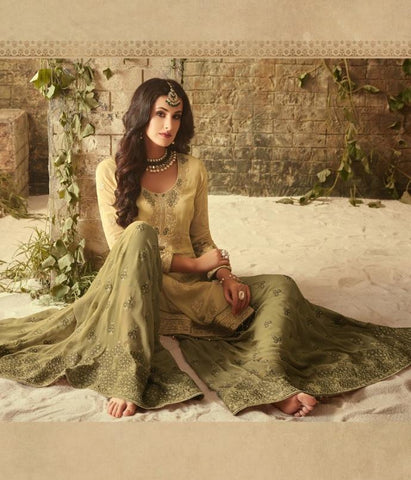 Pastel Yellow and Green Georgette Sharara Style Salwar Kameez