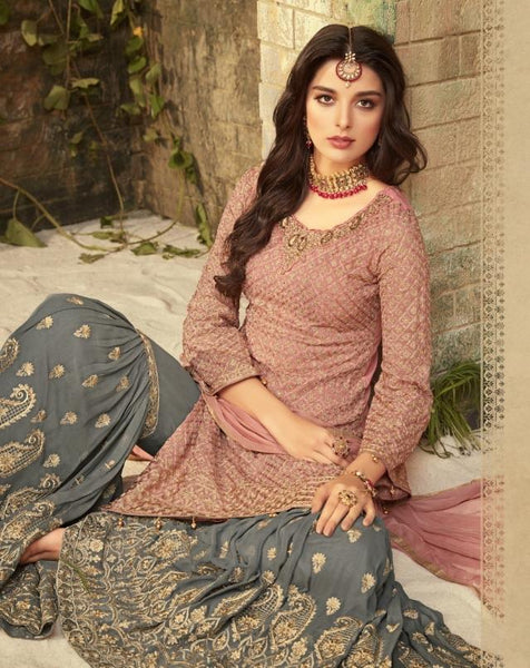 Pink and Greyish Blue Georgette Sharara Style Salwar Kameez