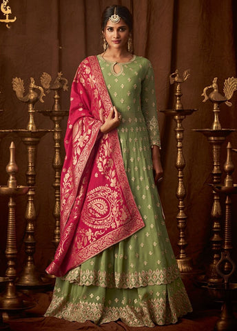 Majestic Green and Pink Party Wear Lehenga Style Salwar Kameez