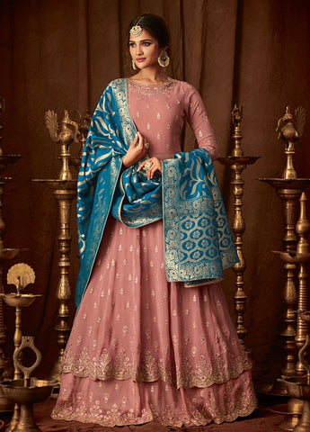 Peach and Blue Party Wear Lehenga Style Salwar Kameez