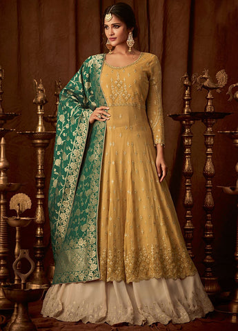 RAvishing Yellow and Green Party Wear Lehenga Style Salwar Kameez