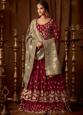 Majestic Red Party Wear Lehenga Style Salwar Kameez