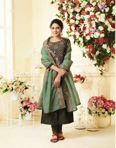Dark Green Party Wear Salwar Kameez In Style of Jennifer Winget