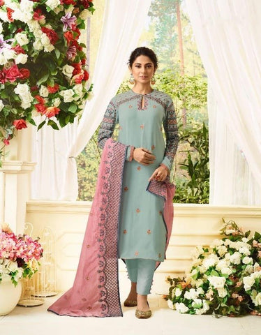 Dull Blue Party Wear Salwar Kameez In Style of Jennifer Winget
