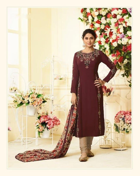 Elegant Maroon Party Wear Salwar Kameez In Style of Jennifer Winget