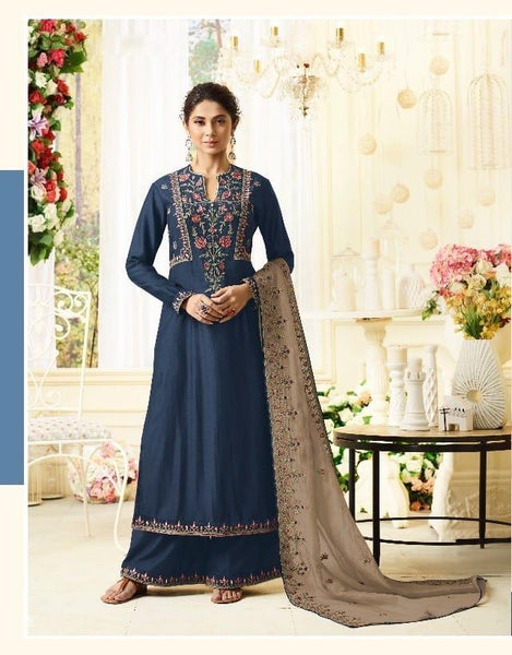 Ravishing Navy Party Wear Salwar Kameez In Style of Jennifer Winget