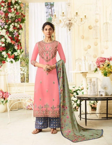 Ravishing Pink Party Wear Salwar Kameez In Style of Jennifer Winget
