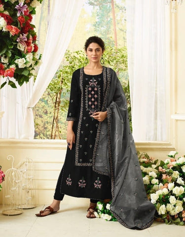 Ravishing Black Party Wear Salwar Kameez In Style of Jennifer Winget