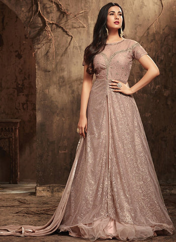 Dusty Pink Embroidered Net Gown Style Anarkali Suit
