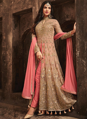 Pink And Beige Heavy Embroidered Net Pant Style Party Wear Suit
