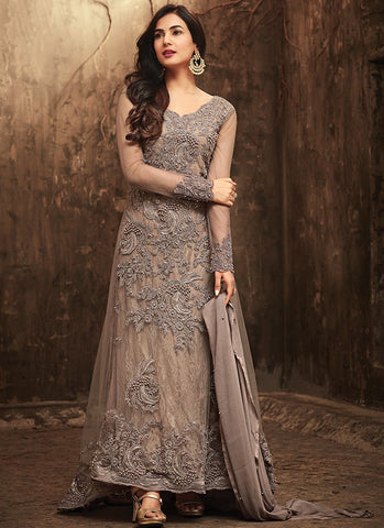 Grey Embroidered Net Anarkali Style Suit