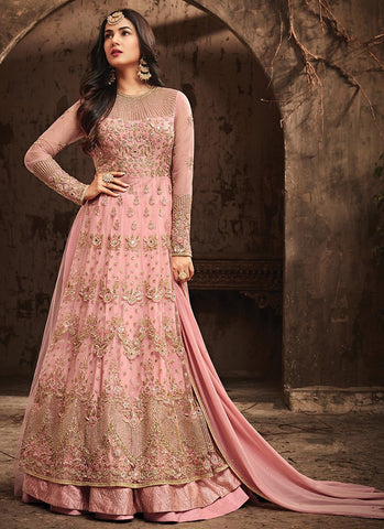 Pink Embroidered Net Anarkali Style Suit