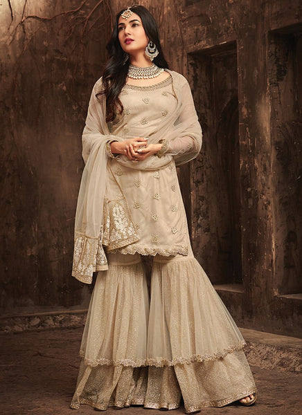 Beige Embroidered Net Gharara Style Suit