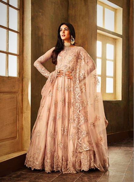 Elegant Pink Party Wear Anarkali Style Salwar Suit
