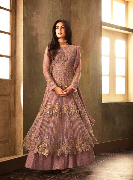 Brown Party Wear Gown Style Salwar Suit