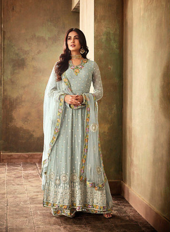 Light Blue Party Wear Anarkali Style Salwar Suit