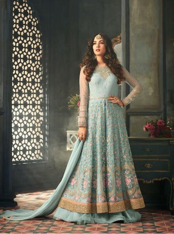 Aqua Heavy Embroidered Net Anarkali Style Suit