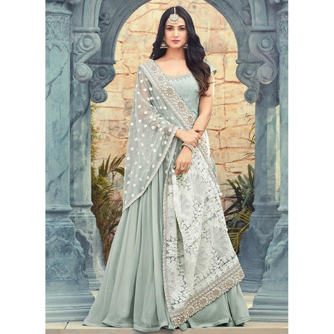 Light Blue Thread Embroidered Georgette Anarkali Suit
