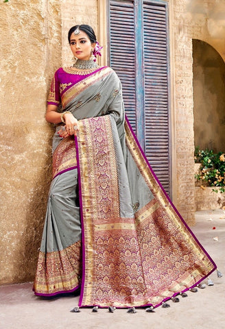 Elegant Banarasi Silk Grey Saree