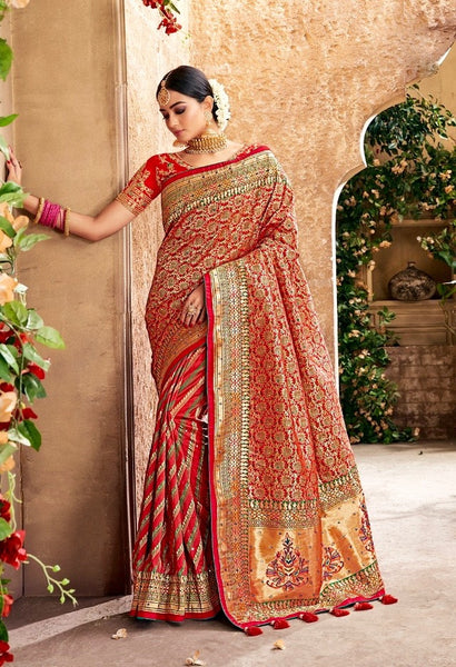 Red Banarasi Silk Wedding Saree