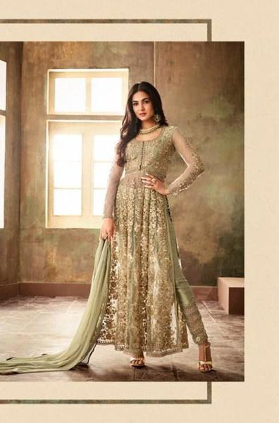 Green Party Wear Pant Style Salwar Suit