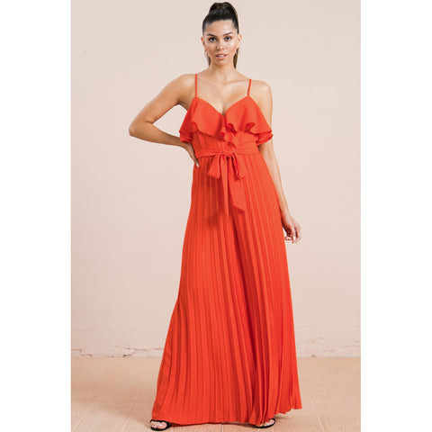Accordion Pleated Solid Jumpsuit W Spaghetti Straps