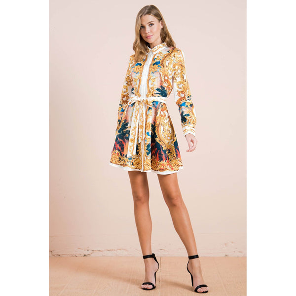 Button Down Mini Dress With Baroque